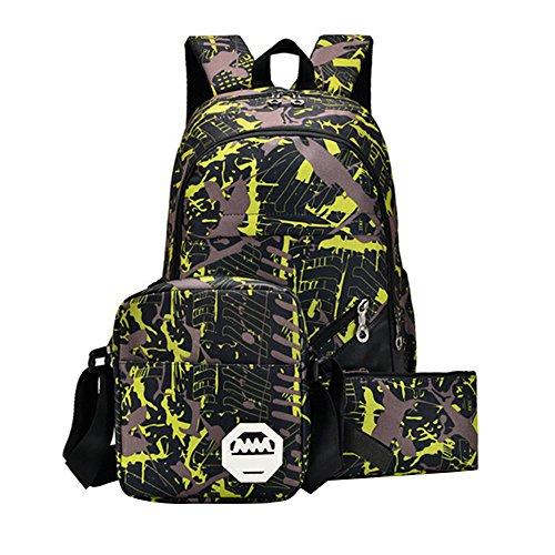 Waterproof Oxford Fabric Backpack+Shoulder Bag +Handbag, Durable Travel Bag School Bag (yellow) by HTHJSCO