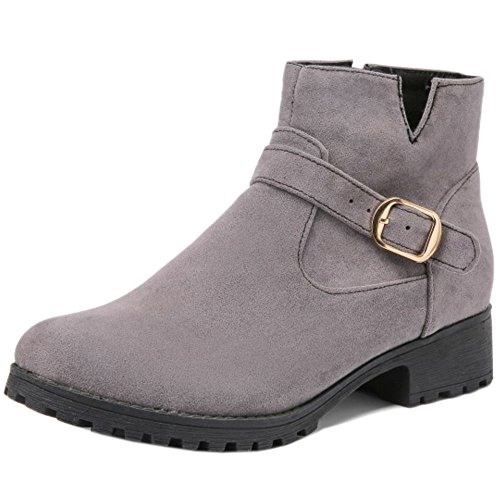 Women Zipper Grey Flats With COOLCEPT Low Boots Autumn Ankle Comfort OFwdgq
