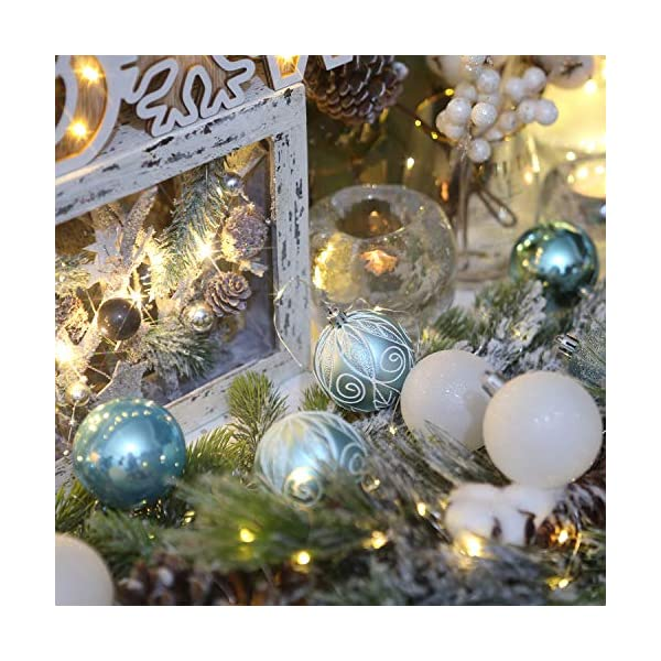 Sea Team 24-Pack Christmas Ball Ornaments with Strings, 60mm/2.36-inch Medium Size Baubles, Shatterproof Plastic Christmas Bulbs, Hanging Decorations for Xmas Tree, Holiday, Wedding, Party, Babyblue 3 spesavip