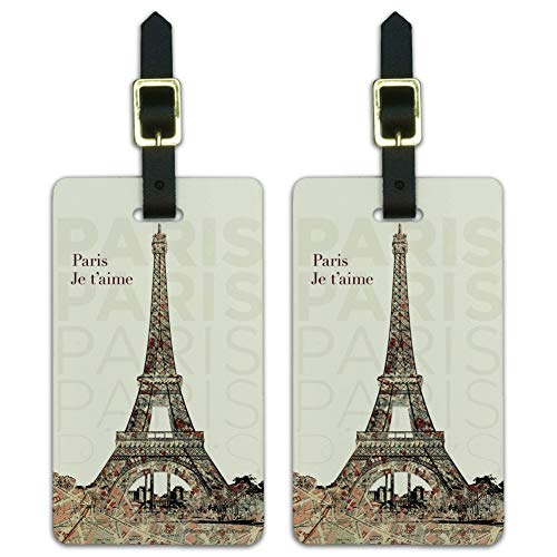 Paris, Je t'aime I Love You Eiffel Tower City Map Luggage ID Tags Cards Set of 2