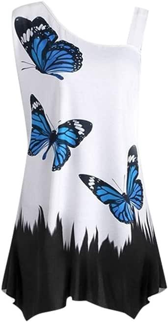 Summer Tops for Women Sleeveless,Sharemen Plus Size Lady Butterfly Print Sleeveless T-Shirt top