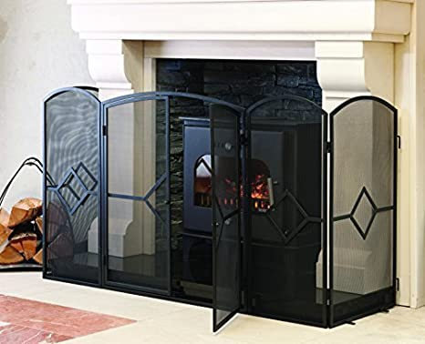 Crannog - Protector para estufa chimenea, con puertas en la parte delantera (153 x 61 x 81 cm), tamaño grande: Amazon.es: Hogar