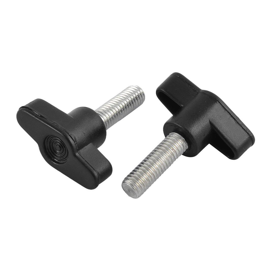 sourcingmap/® Plastic Cap Metal T Shaped Clamping Knob Grip M6 Diameter Male Thread 8 PCS