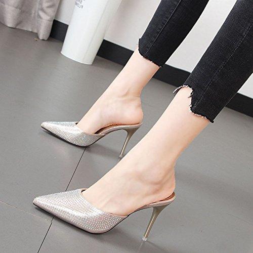 con punta banquete Baotou Oro agua zapatos mujer Qiqi tacón de el el zapatillas El Xue fría de fina zapatillas de zapatillas Cool perforar O8qPH