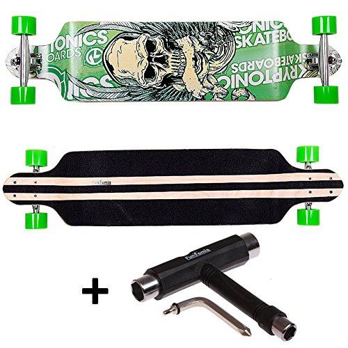 FunTomia® Longboard Skateboard Board Skaten Cruiser Komplettboard mit ABEC-11 High Speed Kugellager T-Tool (Modell Drop Down - Farbe Grün Totenkopf+T-Tool)
