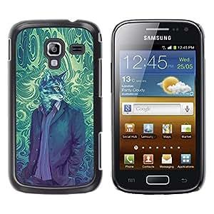 Qstar Arte & diseño plástico duro Fundas Cover Cubre Hard Case Cover para Samsung Galaxy Ace 2 I8160 / Ace2 II XS7560M ( Cat Suit Portrait Vintage Wallpaper Art)