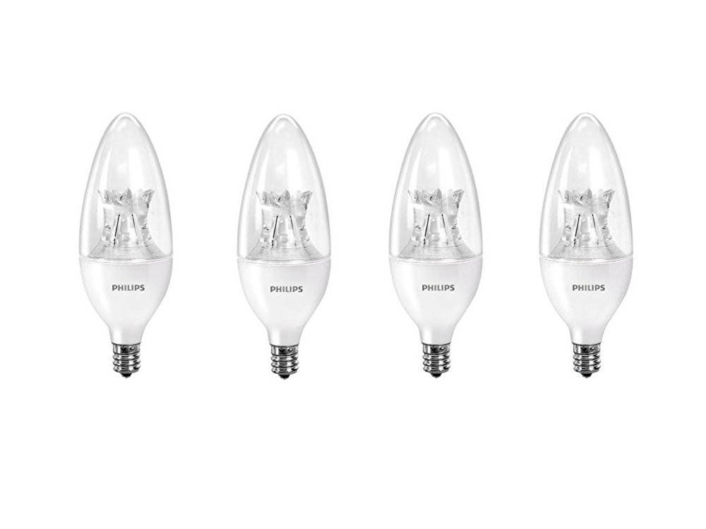 Philips 458687  LED B12 Dimmable Candle Light Bulb with Warm Glow Effect: 500-Lumen, 2700-2200 Kelvin, 7-Watt (60-Watt Equivalent), E12 Candelabra Base, Soft White, 4-Pack