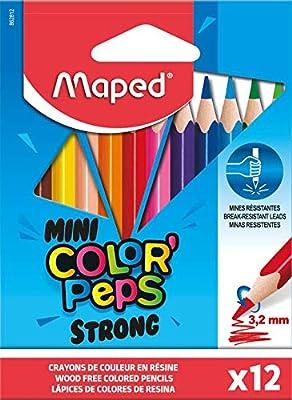 Maped – Lápices de colores STRONG Mini ColorPeps – 12 lápices de colorear ultra resistentes y ergonómicos – Estuche de 12 lápices pequeños: Amazon.es: Juguetes y juegos