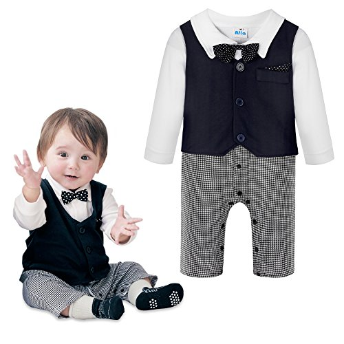 Baby Boys Jumpsuit Romper & Vest & Bowtie 3 Pieces Clothes Gentleman Tuxedo Suit (Baby Santa Outfit For Boy)