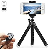 KEKH Phone Tripod,Portable and Adjustable Tripod Stand Holder with Bluetooth Remote for iPhone, Android Phone,Camera with Universal Clip and Remote (Black)