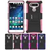LG V20 Case, HLCT Rugged Shock Proof Dual-Layer PC and Soft Silicone Case With Built-In Kickstand for LG V20 (2016) (Pink)