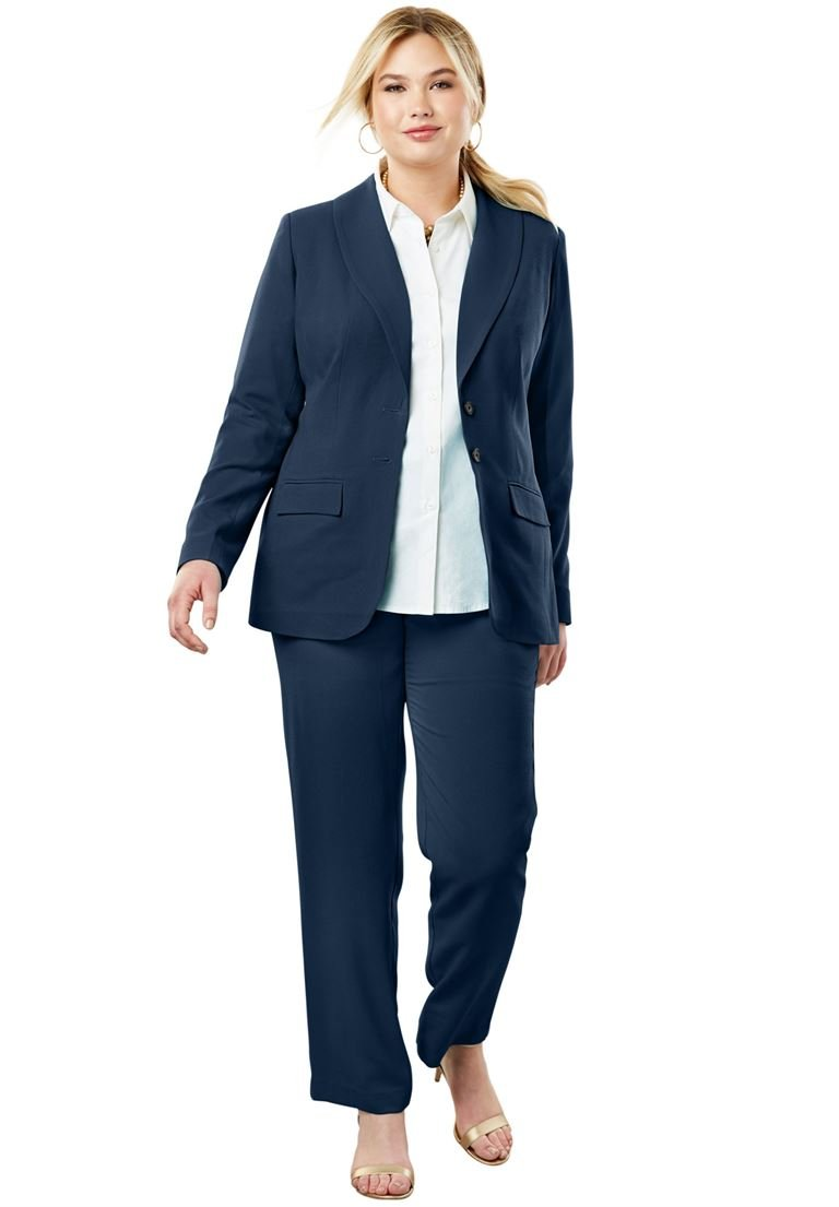 Jessica London Women's Plus Size Single Breasted Pant Suit Navy,18 W