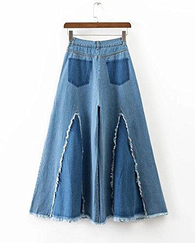 Donna Strappato Blu Skinny Gamba Ginocchio Larga Jeans Pantaloni r05rq