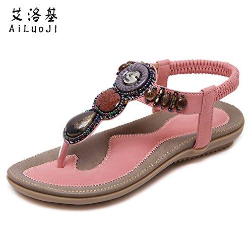Sandales de Bohême été femme strass fond plat grande taille pincée étudiants style ethnique rétro chaussures de plage 39 Yv9t34r8