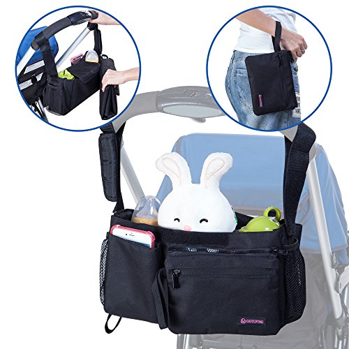 Gotofine 5-In-1 Universal Stroller Organizer Bag with Portable Baby Changing Pad and Detachable Pouch. Increase Your Stroller Storage