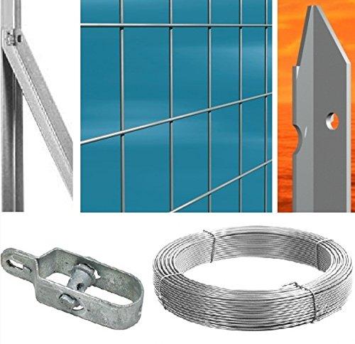 Zaun Komplett 25mt lineare Drahtgeflecht verzinkt (Netz H100cm) (Mesh: 75x 50) mit Pfosten Arbeitsplätze im Beton (2282)