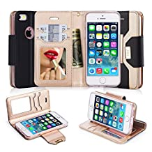 iPhone SE Case, iPhone 5S Case, iPhone 5 Case, FYY Premium PU Leather Wallet Case with Cosmetic Mirror and Bow-knot Strap for Apple iPhone SE/5S/5 Black