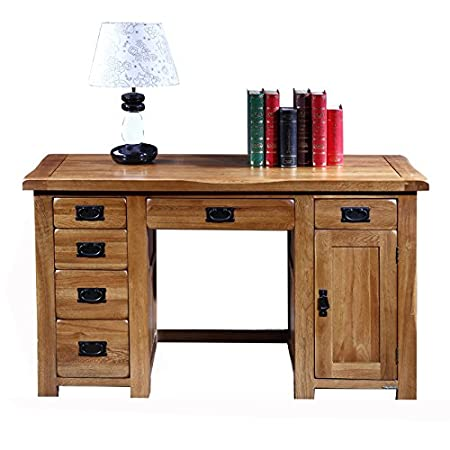 100% de madera maciza de escritorio de ordenador Escritorio 1,35 ...