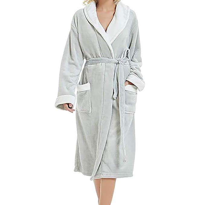 beautyjourney Pijamas de Invierno para Mujer sin Capucha Espesar Sauna Capa de Franela Albornoz Suave y esponjosa Bata Pijamas de Manga Larga: Amazon.es: ...