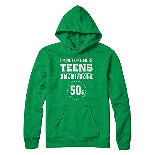 1950s Outfit Ideas (TeeCentury Unisex Vintage I'm Not Like Most Teens I'm In My 50s Birthday Shirt Gildan - Pullover Hoodie (Irish Green, XL))