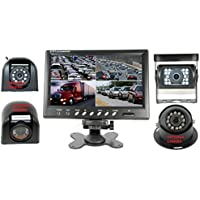 4Ucam 9 Quad View Split Screen Monitor + CCD Wired Camera for RV, Trailer, Motor Home, 5th Wheels and Trucks Backup or Rear View & Right Passenger Side Wired Sony CCD Camera