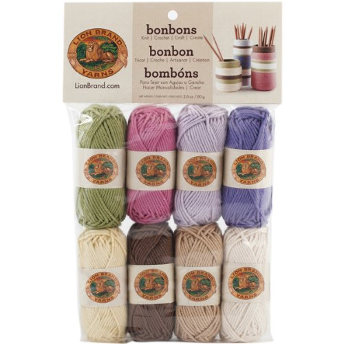 Lion Brand Yarn 601-640 Bonbons Yarn, Nature (Dk Cotton Weight Yarn)