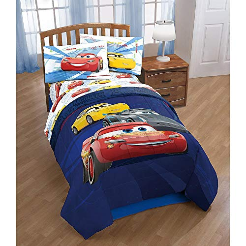 Disney Pixar Cars 3 High Tech Twin Comforter and Sheet Set Bedding Collection ()