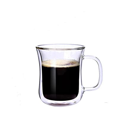 Glass Espresso Cups QUANSHENG Double Walled Coffee Cup High Temperature  Insulation Of High Borosilicate