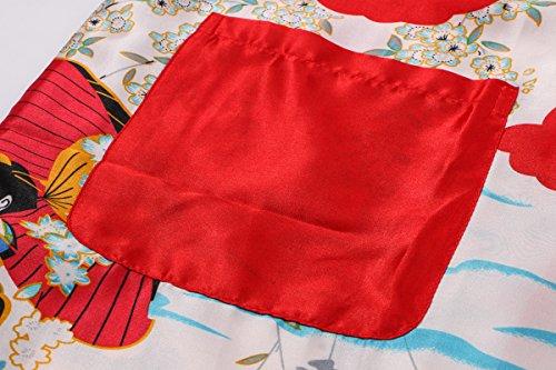 Yukata Women's Japanese Traditional Geisha & Sakura Satin Kimono Robe, Red L by Joy Bridalc (Image #3)