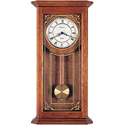 Cirrus Wall Clock in Solid Oak Case w Metal Dial - Bulova