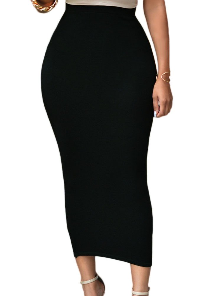 KaleaBoutique Womens Solid High Waist Bodycon Maxi Skirt, Black, Size XL (US 16-18)