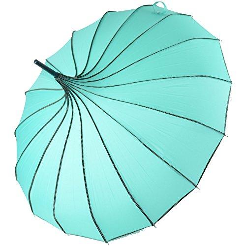 Kung Fu Smith Women Vintage Polka Dots Travel Stick Rain Pogoda Parasol Umbrella (Turquoise)