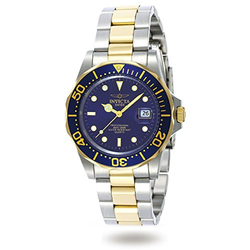 Men's Two Tone Stainless Steel Pro Diver Quartz Blue Dial (Diver Quartz Blue Dial)