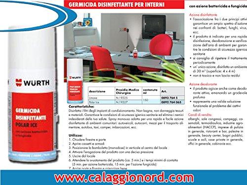 19 opinioni per Wurth DISINFETTANTE GERMICIDA 150 ml cod. Wurth 0893 764 5 Profumazione POLAR