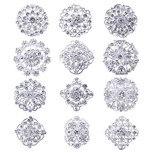 Clear Flower Brooch - Tvoip Fashion Lot 12pc Clear Rhinestone Crystal Flower Brooches Pins (Silver)