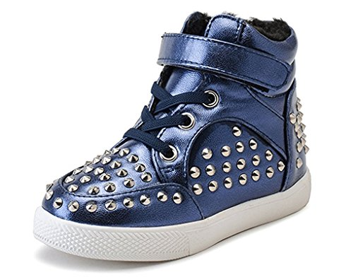 Boots Fashion Shoe Cotton Ankle Blue High Girls Skate Shoes Lined Pointss Rivets Zip Shoe Outdoor Travel Casual Winter Walking Sneaker Top Z8qx6CHw