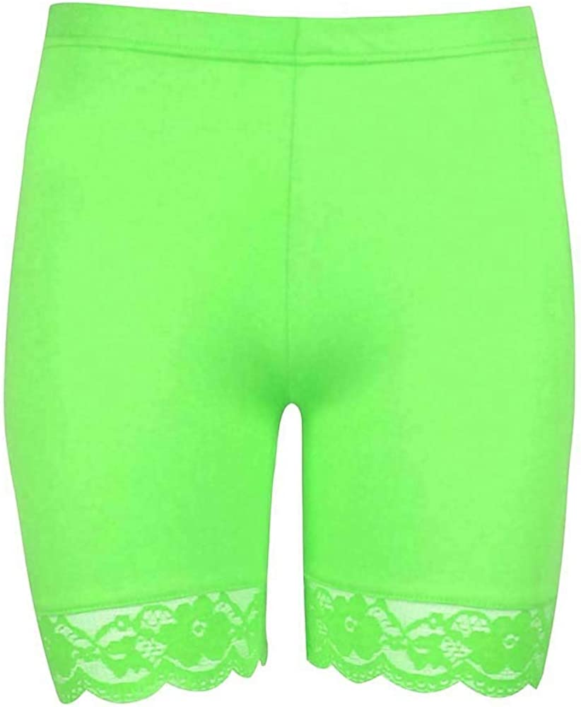 Womens Ladies Scallop Lace Trim Jersey Gym Bike Cycling Hot Pants Tights Shorts