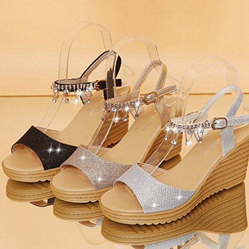 Diamond Walking Womens High Wedge Silvery Sandals JULY String Slipppers Heel Platform Peep Slide Fashion on Toe Dress T Slip pqRwS