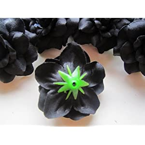 """(24) Silk Black Roses Flower Head - 1.75"""" - Artificial Flowers Heads Fabric Floral Supplies Wholesale Lot for Wedding Flowers Accessories Make Bridal Hair Clips Headbands Dress 4"""