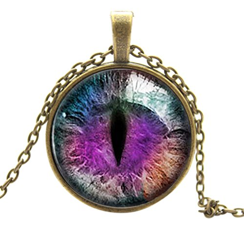 Buytra(TM) Vintage Dragon Cat Eye Glass Cabochon Pendant Necklace