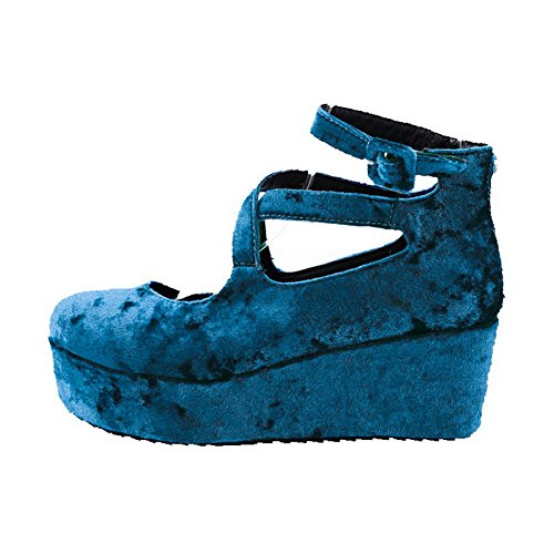 Tå Hæler Voguezone009 Solide sko Runde Spenne Kattunge Semsket Kvinners Pumper Lukket Imitert Cyan 4rOxOYIn