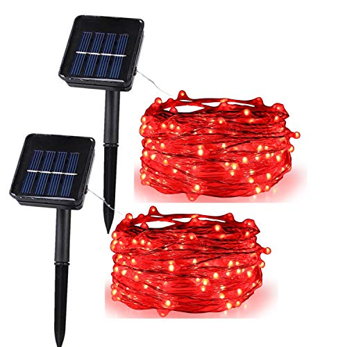 (Anxus Solar String Lights, 100 LEDs Red Starry String Lights, Copper Wire Solar Lights Ambiance Lighting for Outdoor, Gardens, Homes, Dancing, Christmas Party (2 Pack))