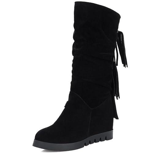 RAZAMAZA Botas Mujer INVIERNO De Tacon Cuna Alto Zapatos White Size 34 Asian vFnfwr