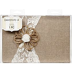 Darice DT732GB David Tutera Burlap and Lace Guest Book