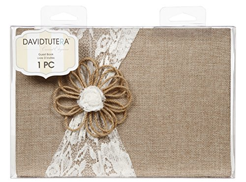 Darice David Tutera Burlap and Lace Guest Book - Natural Burlap Embellished with Cream Lace and Jute Flower - Gilded Pages - Adds Rustic Charm to Wedding or Event - -