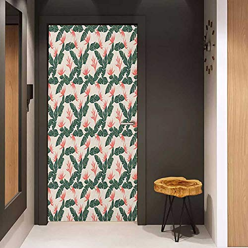 (Onefzc Pantry Sticker for Door Jungle Retro Style Island Nature Pattern with Leaves Bird of Paradise Flowers Sticker Removable Door Decal W36 x H79 Army Green Coral Ivory)