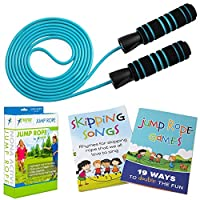 Adjustable Jump Rope - for Kids and Adults - Easily Adjustable with Non Slip Handles - Plus Games Book and Skipping Songbook