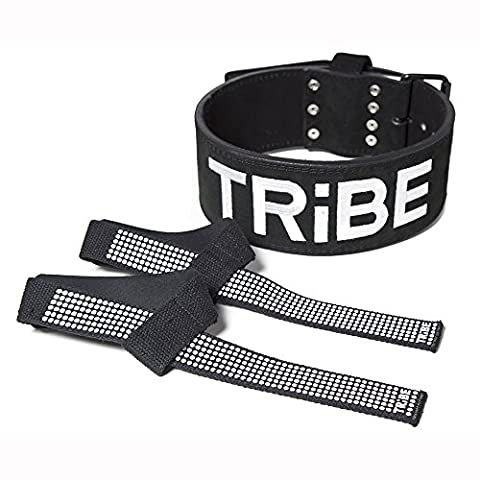 Weight Lifting Belt for Men and Women + BONUS Lifting Straps, 10mm Black Suede Leather, Single Prong for Weightlifting, Power Lifting, Cross Fit and Lower Back Support (Life Vests 5x)