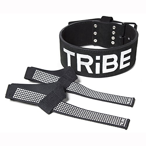 Weight Lifting Belt for Men and Women + BONUS Lifting Straps, 10mm Black Suede Leather, Single Prong for Weightlifting, Power Lifting, Cross Fit and Lower Back Support (Medium)