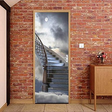 WFYY Etiqueta de la Puerta Escalera Celestial en 3D por Mural Mural Pintado Mural Etiqueta de Pared Deco Mural Foto Mural Autoadhesivo por 77X200Cm: Amazon.es: Hogar
